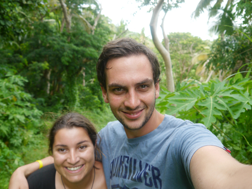 Hikking in the Fijian jungle couple