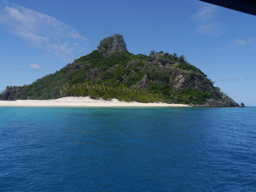 Blue Water, white sand around a Fijian Island