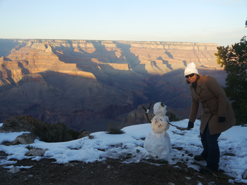 Snowman at the top of the Grand Canyon, Arizona