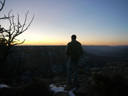 Col watching the sunset over the Grand Canyon