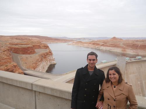 Ben and Tamara in front of a big Dam.
