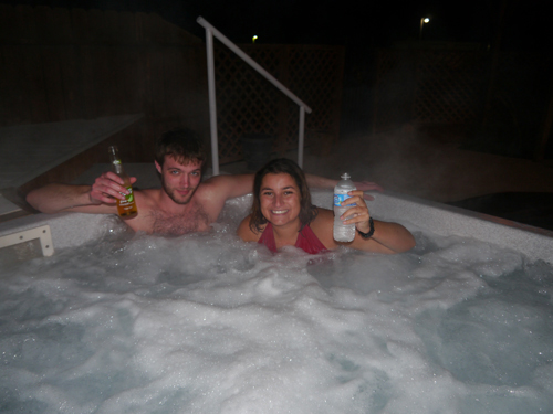 Col and Tam getting cosy in the Hot Tub
