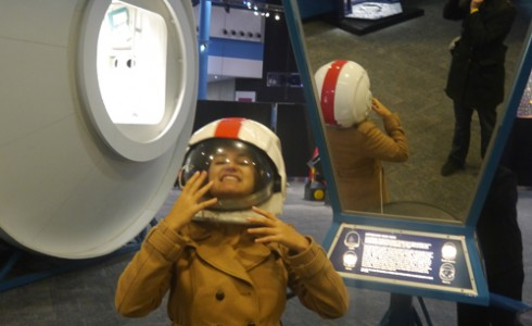 Tam in a space helmet