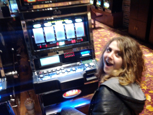 Amy on the slot machines in Atlantic City