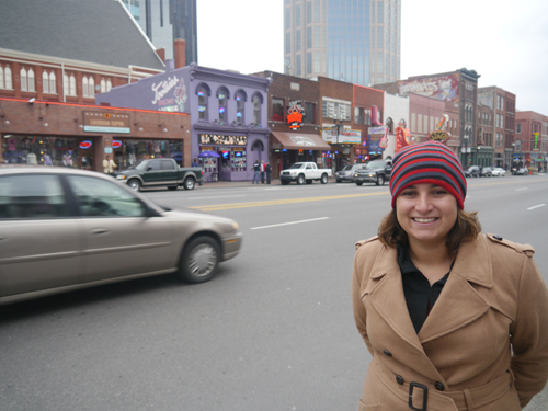 Tam in front of Broadway, Nashville