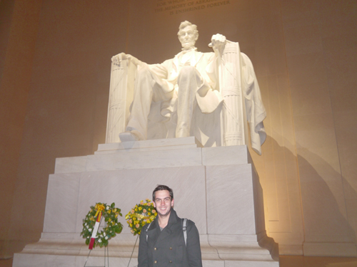 Ben in front of the Lincoln Memorial, Washington DC