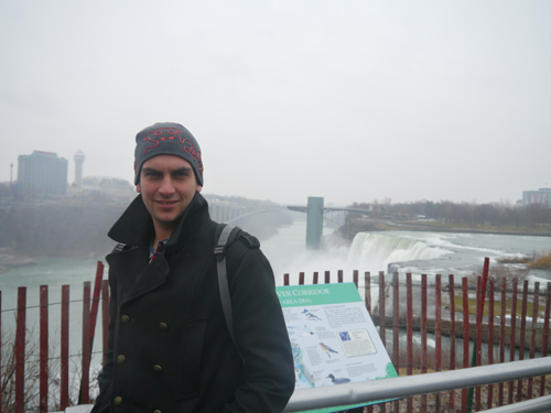 Ben with Niagara falls in the background