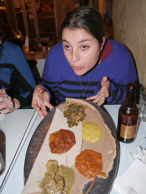 Tam enjoying some Ethiopian Food