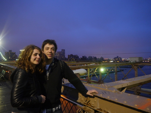 Ben and Amy on the Brooklyn Bridge