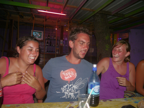 Tam, Ben and Nele in Caye Caulker