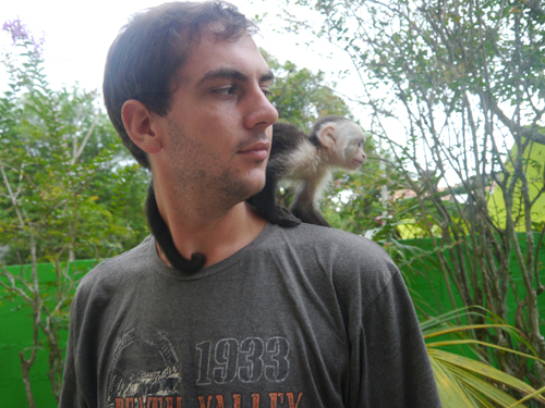 Ben and the Monkey in Utila