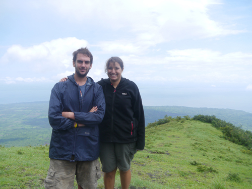 Couple at the top of Volcan Concepcion, Ometepe, Nicaragua