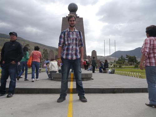 Standing on the 'fake' equator line