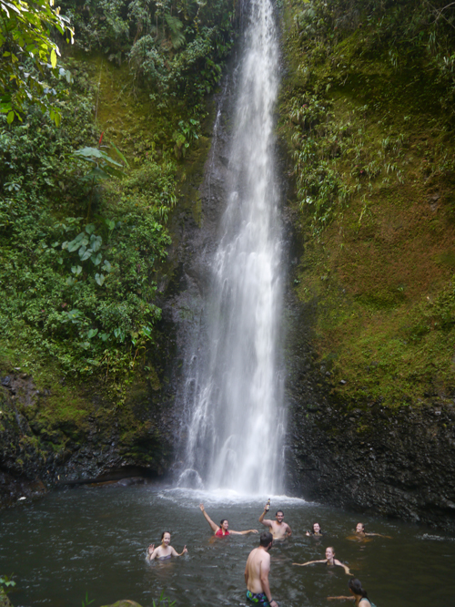 Swimming in the waterfall