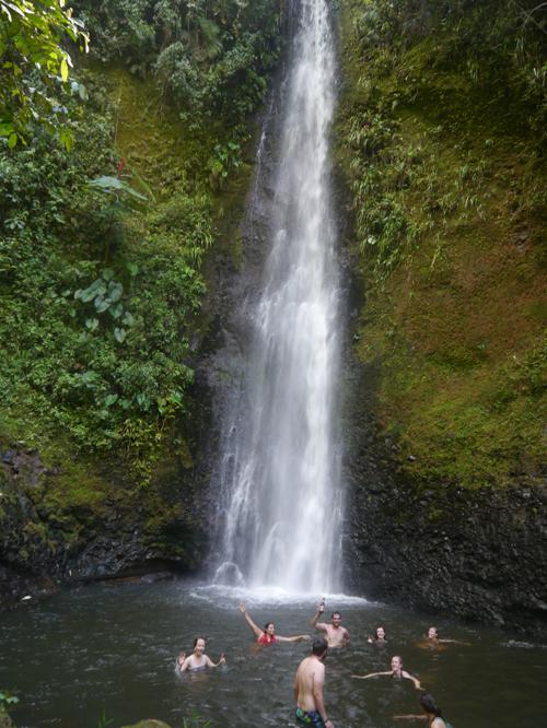 Swimming in the waterfall