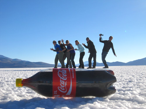 Perspective photos in the Salt Flats of Uyuni, Bolivia