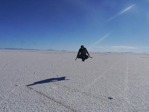 Ben Hovering above the salt flats