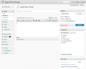Wordpress Admin Area - Add New Post