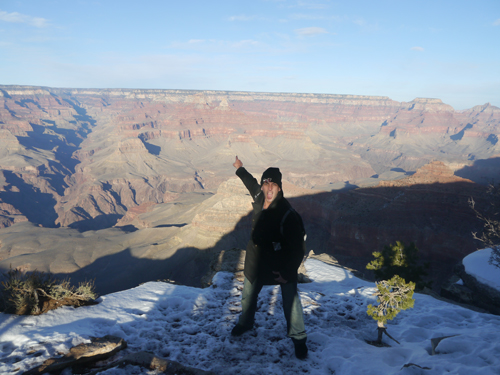Ben standing on the Grand Canyon, Arizona