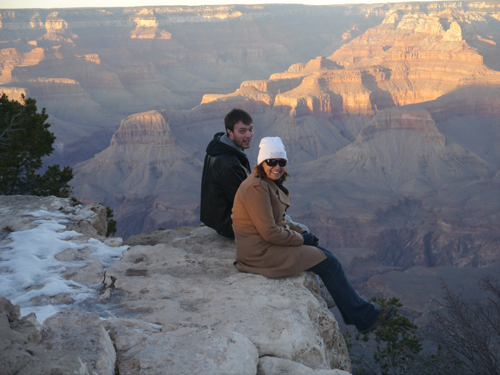 Tam & Col balance on the edge of the Grand Canyon