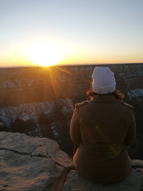 Tam watching the sunset over the Grand Canyon