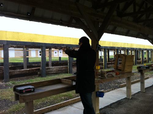Ben shooting a gun