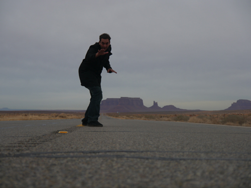 Ben on the Road in Monument Valley