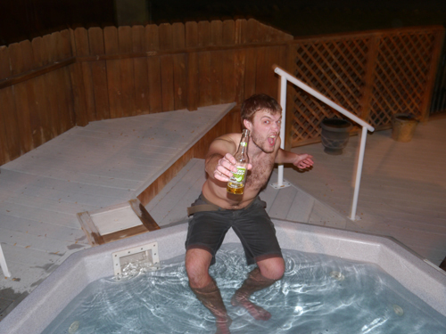 Col and a Beer in the Hot Tub