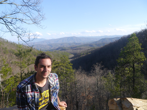 Ben looking out over the Smokey Mountains