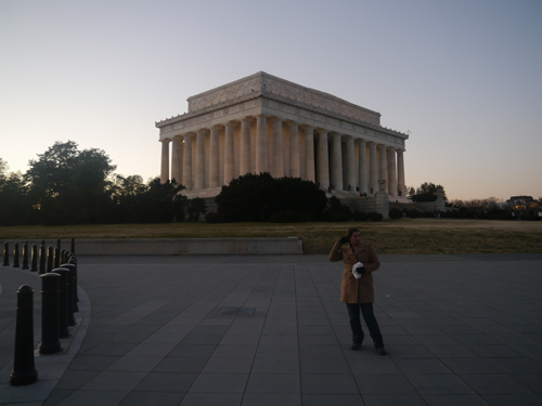 Walking up to the Lincoln Memorial