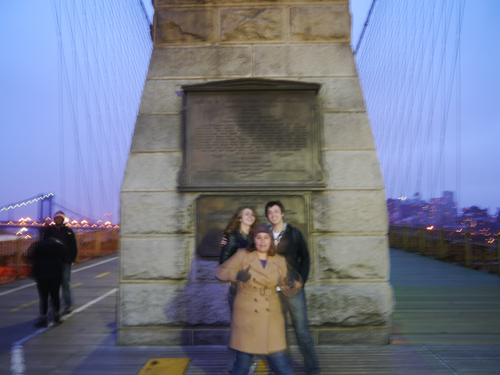 Ben, Amy and Tam on the Brooklyn Bridge