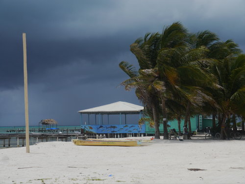 The wind during a storm in Caye Caulker