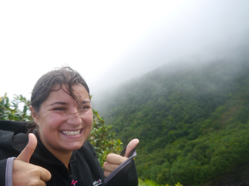 Woman at the top of Volcan Concepcion, Ometepe, Nicaragua