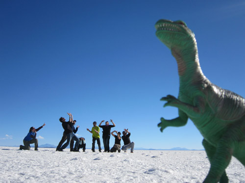 Perspective photos in the Salt Flats of Uyuni, Bolivia