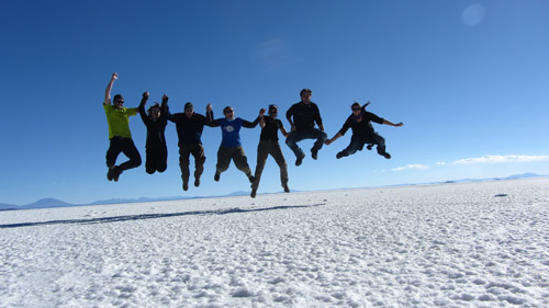 Jumping on the salt flats in Uyuni