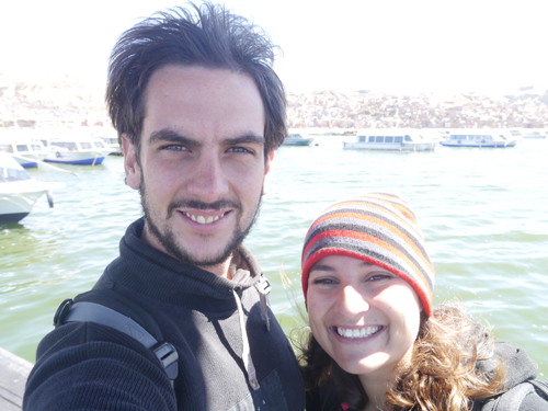 In front of lake Titicaca