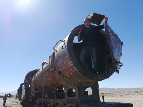 Ben in an old train in Bolivia