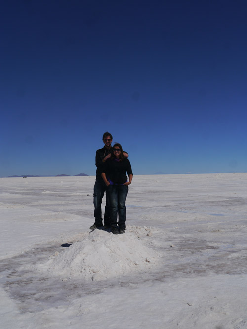 Tourists on a pile of salt in Bolivia