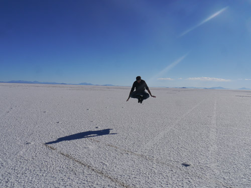 Ben Hovering above the salt flats