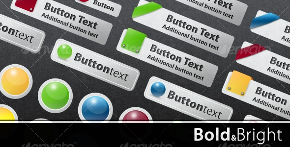 Bold and Bright Web Buttons PSD