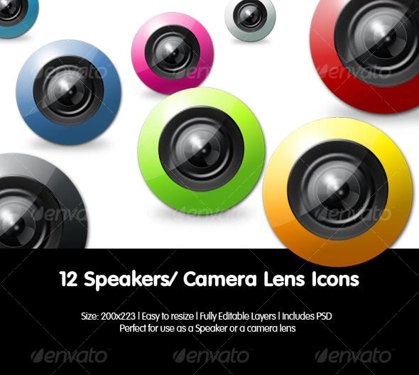 Colourful Camera Lens Icons
