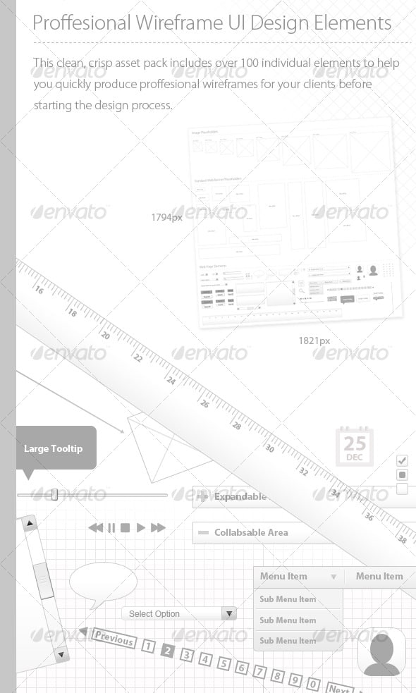Pro UI Wireframing Photoshop Pack